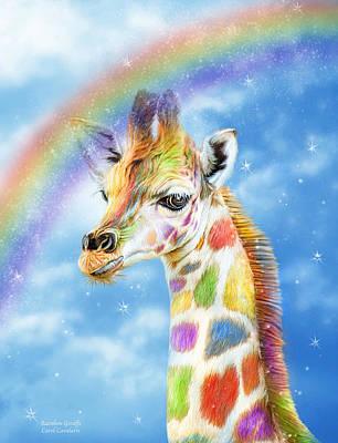 Rainbow Giraffe Poster by Carol Cavalaris