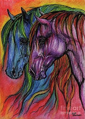 Rainbow Horses Poster by Angel  Tarantella