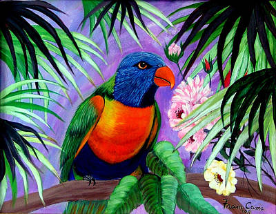 Poster featuring the painting Rainbow Lorikeets. by Fram Cama