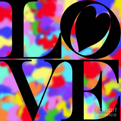 Rainbow Love In Black Poster