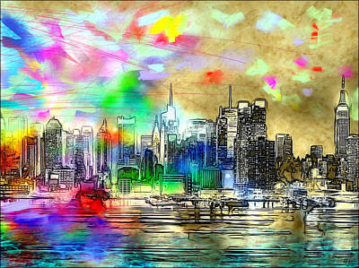 Rainbow Nyc Skyline Poster by Daniel Janda