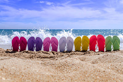 Rainbow Of Flip Flops On The Beach Poster