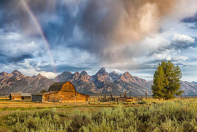 Rainbow On Moulton Barn - Horizontal - Grand Teton National Park Poster by Andres Leon
