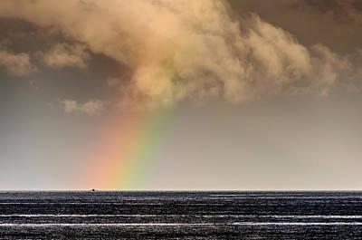 Rainbow Over A Black Ocean Poster
