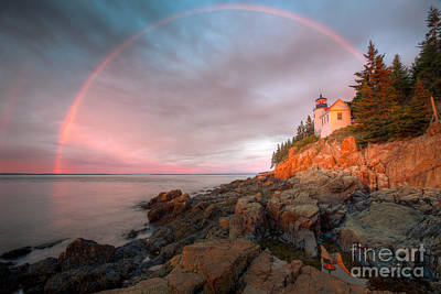 Rainbow Over Bass Harbor Head Light I Poster by Clarence Holmes