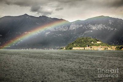 Rainbow Over Lake Como Poster by George Oze