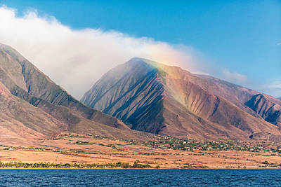Rainbow Over Maui Mountains   Poster