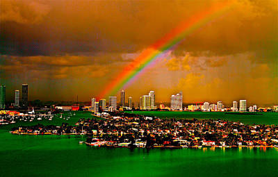 Rainbow Over Miami Florida Poster by Ronald  Bell