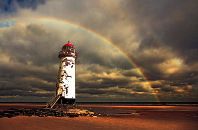 Rainbow Over Talacre Lighthouse Poster by Mal Bray