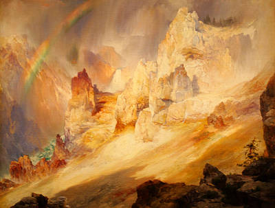 Rainbow Over The Grand Canyon Of The Yellowstone Poster by Thomas Moran