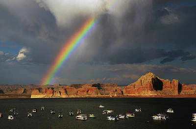 Rainbow Over Wahweap Marina, Lake Poster by Michel Hersen
