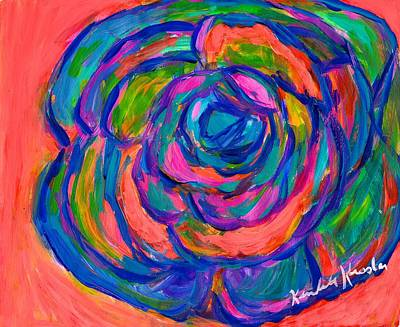 Rainbow Rose Poster by Kendall Kessler