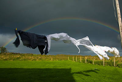Rainbow, Stormy Sky And Clothes Line Poster