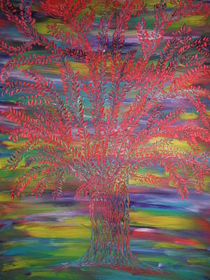 Poster featuring the painting Rainbow Tree by Nico Bielow
