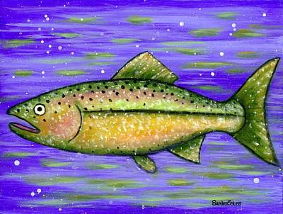 Poster featuring the painting Rainbow Trout by Sandra Estes
