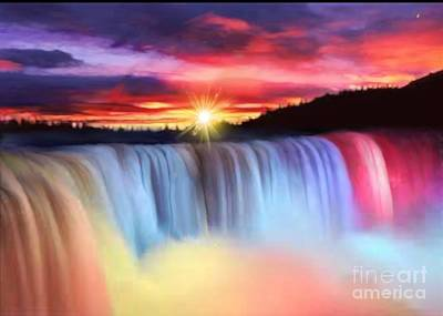 Rainbow Waterfall Poster
