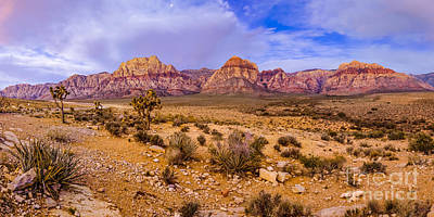 Rainbow Wilderness Panorama At Red Rock Canyon Before Sunrise - Las Vegas Nevada Poster