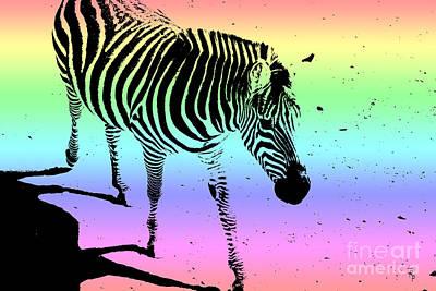 Rainbow Zebra Poster by Janice Rae Pariza