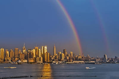 Rainbows Over The New York City Skyline Poster by Susan Candelario