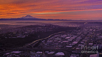 Rainier And St Helens At Sunrise Poster by Mike Reid