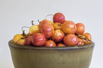 Rainier Cherries And Ceramic Bowl Poster by Rich Franco