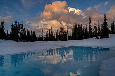 Rainier Stratus Clouds Reflection Poster by Mike Reid
