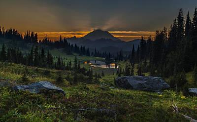 Rainier Sunset Basin Poster