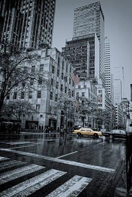 rainy 5th Ave Poster by Joachim G Pinkawa