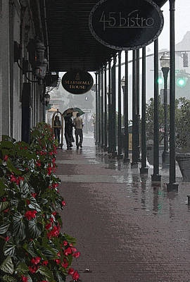 Rainy Day In Savannah - Marshall House Poster by Suzanne Gaff