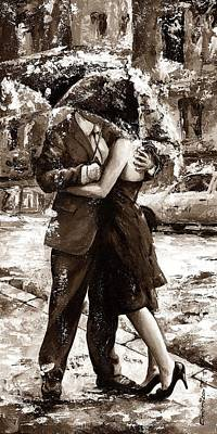 Rainy Day - Love In The Rain 2 Sepia Poster by Emerico Imre Toth