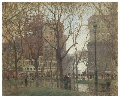 Rainy Day Madison Square New York Poster by Paul Cornoyer