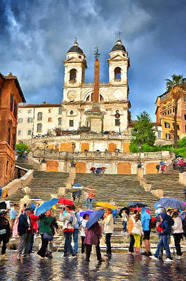 Rainy Spanish Steps Poster