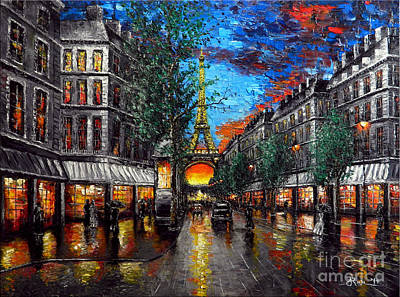 Rainy Sunset In Paris Poster by Alexandru Rusu