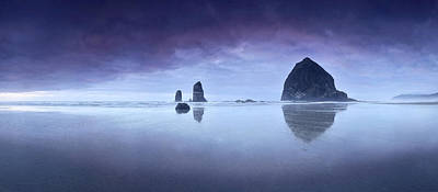 Poster featuring the photograph Rainy Sunset Over Cannon Beach by Sebastien Coursol