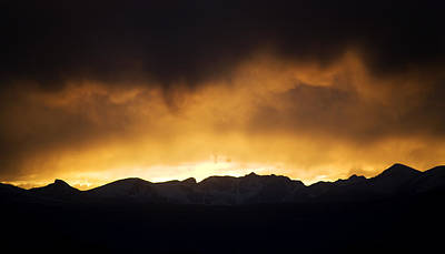 Rainy Sunset Over Rockies Poster