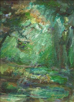Poster featuring the painting Rainy Woods by Mary Wolf
