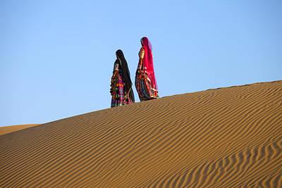 Rajasthani Women In Thar Desert Poster by Indiana Zuckerman