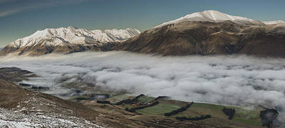Rakaia River Valley Filled With Fog Poster by Colin Monteath