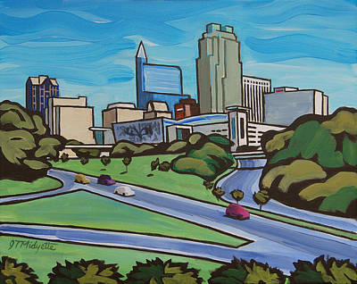Raleigh Skyline 2 Poster by Tommy Midyette