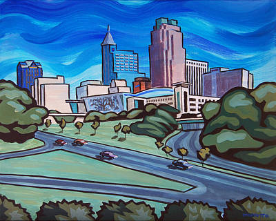 Raleigh Skyline 4 Poster by Tommy Midyette