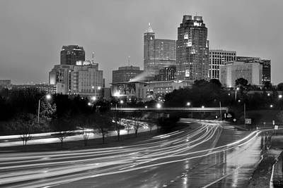 Poster featuring the photograph Raleigh Skyline At Dusk Evening Black And White Bw Evening Panorama North Carolina Nc by Jon Holiday