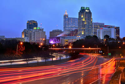 Poster featuring the photograph Raleigh Skyline At Dusk Evening Color Evening Panorama North Carolina Nc by Jon Holiday