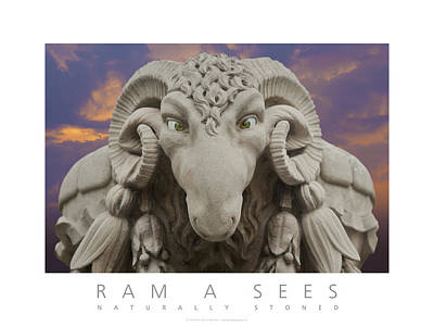 Poster featuring the digital art Ram A Sees Naturally Stoned Poster by David Davies