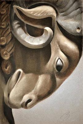 Poster featuring the pastel Ram Architectural Detail - Pastel by Ben Kotyuk
