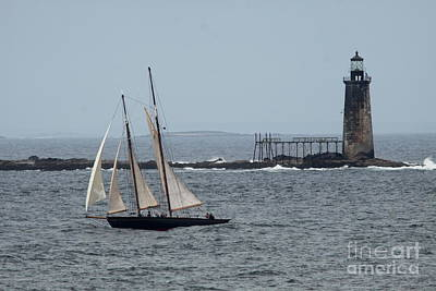 Ram Island Ledge Light And Schooner Poster