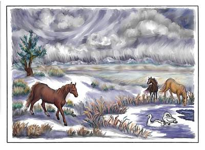 Ranch Horses And  Wild Swans Poster