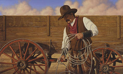 Poster featuring the painting Ranch Wagon by Ron Crabb