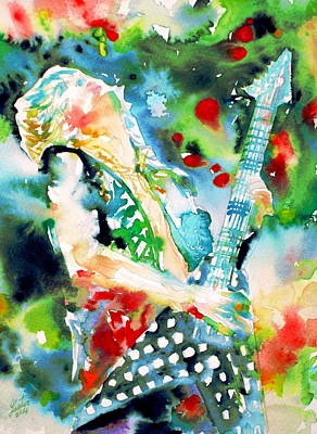 Randy Rhoads Playing The Guitar - Watercolor Portrait Poster by Fabrizio Cassetta