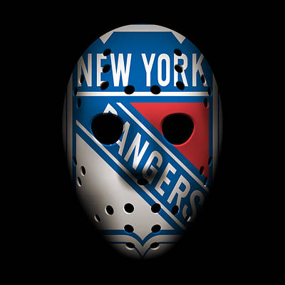Rangers Goalie Mask Poster by Joe Hamilton