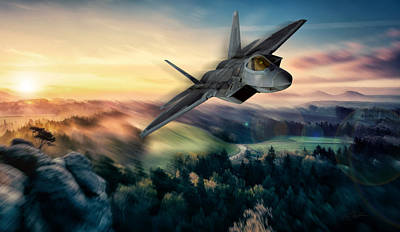 Raptor Sunset Poster by Peter Chilelli